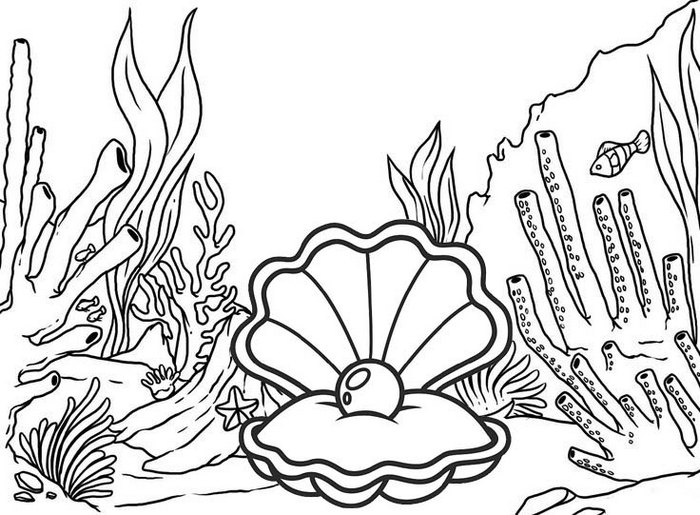 Beautiful Oyster Coloring Page with Coral Reefs Scenery