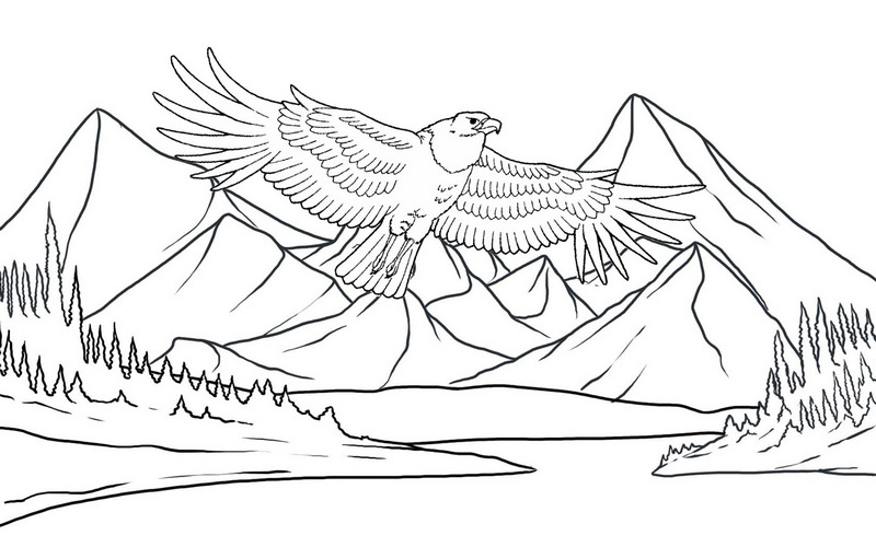 Best Eagle Flying with mountains scenery coloring page