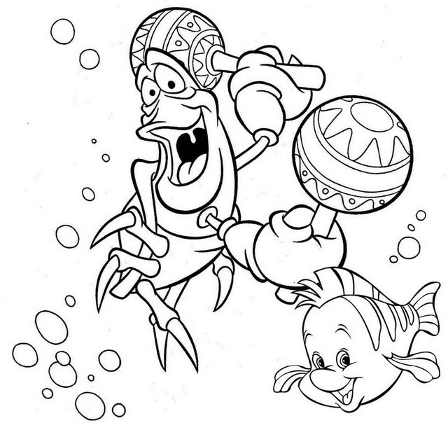 Best Flounder and Sebastian Coloring Page