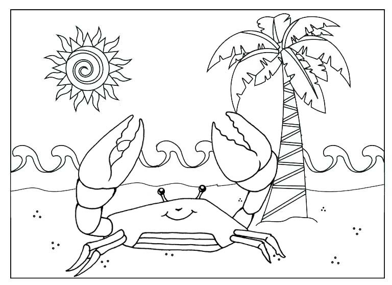 Crab cartoon running on the beach coloring page