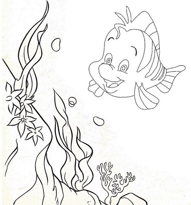 Flounder Underwater Coloring Page