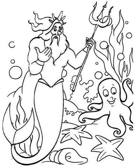 King Triton from the Little Mermaid Coloring Page