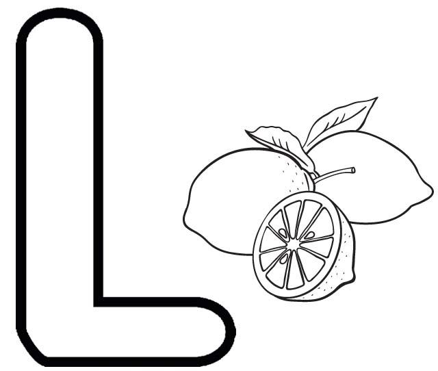 Letter L for Lemon Coloring Page
