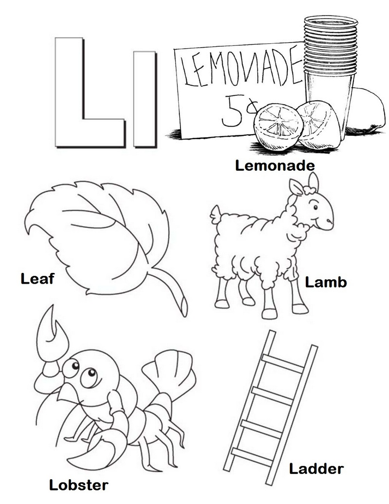 Letter L for Object with L in Initial Alphabet Coloring Page