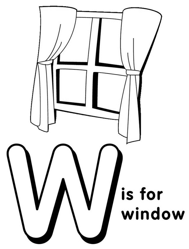 Letter W for Window Coloring Page