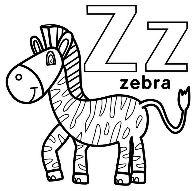 Letter Z for Zebra Coloring Page
