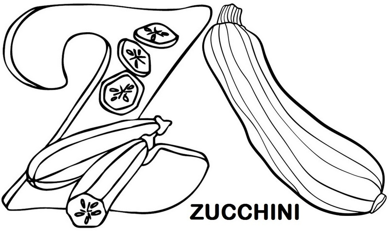 Letter Z for Zucchini Coloring Page