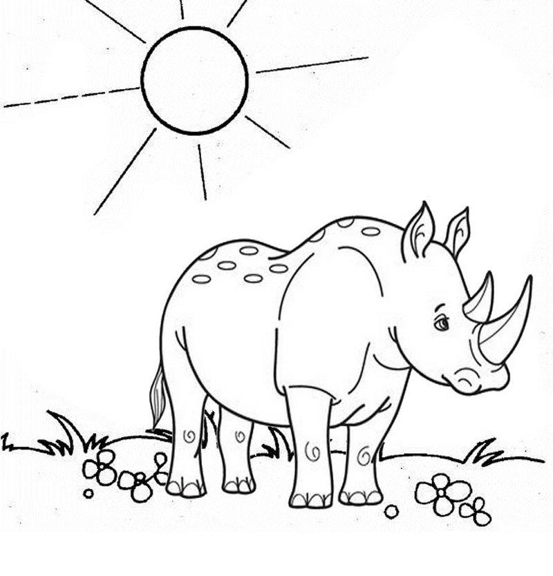 a sad rhino cartoon coloring page