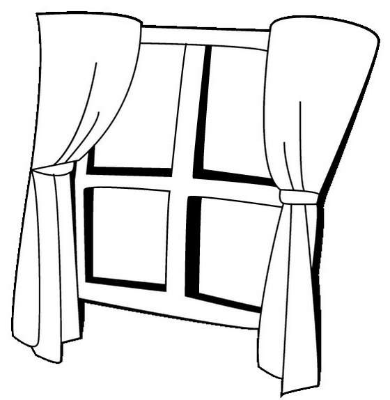 best window curtain coloring page