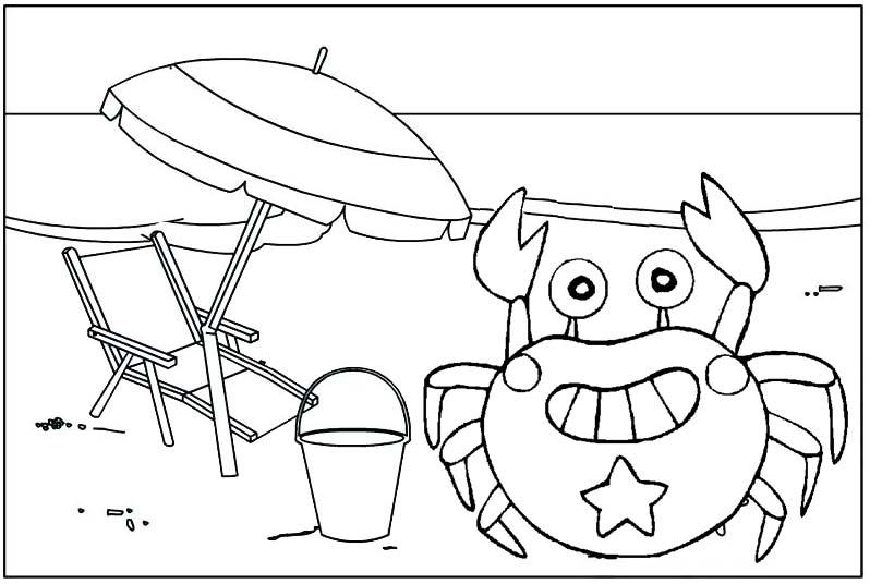 crab cartoon with a beach umbrella coloring page