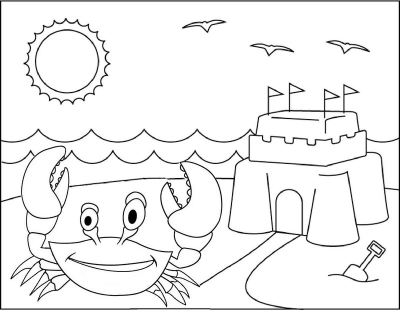 crab with beautiful sand castle scenery coloring page