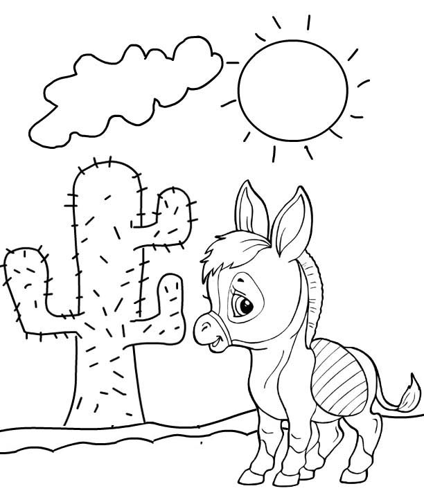 cute baby donkey cartoon in desert coloring page