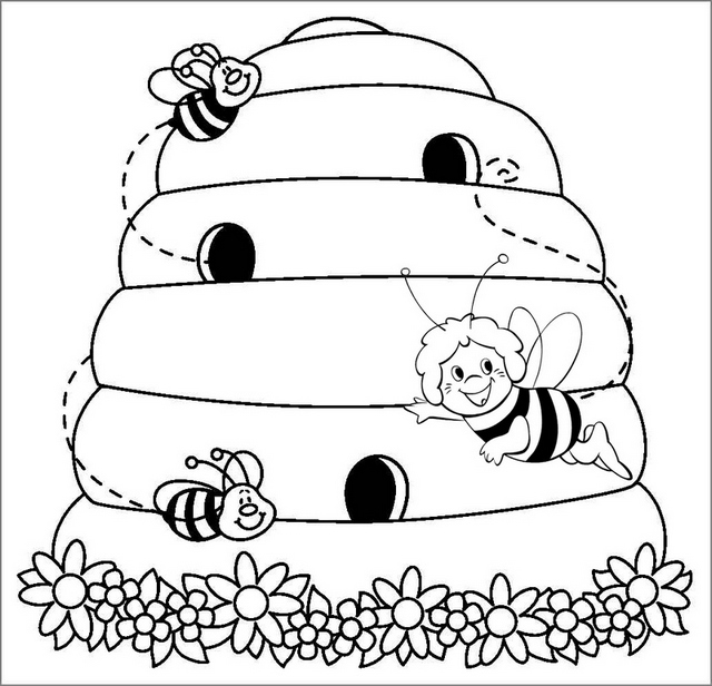 cute beehive coloring page for kid