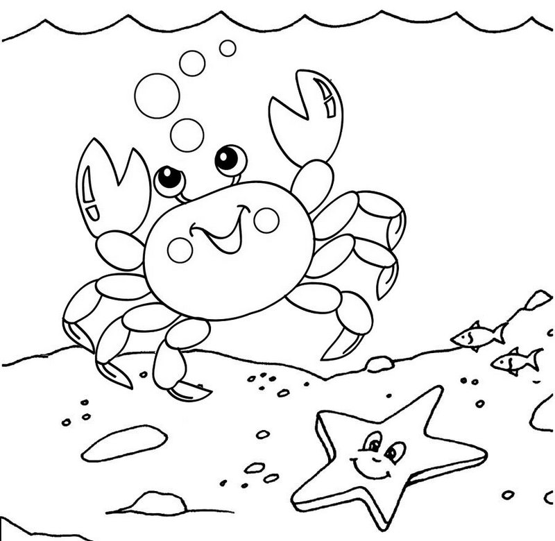 cute crab and starfish underwater coloring pages