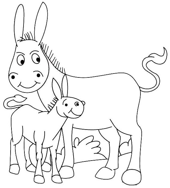 donkey and baby coloring page for kids