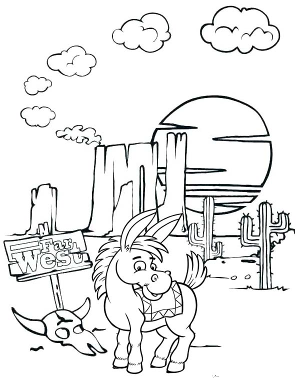 donkey animal desert cactus landscape coloring pages