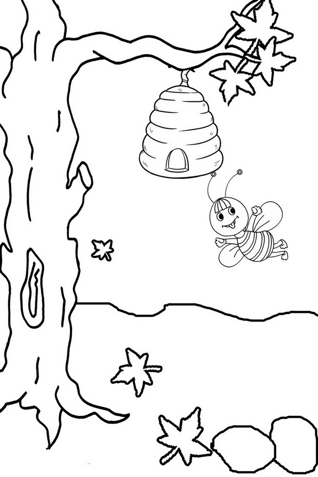 fun tree with beehive coloring pages