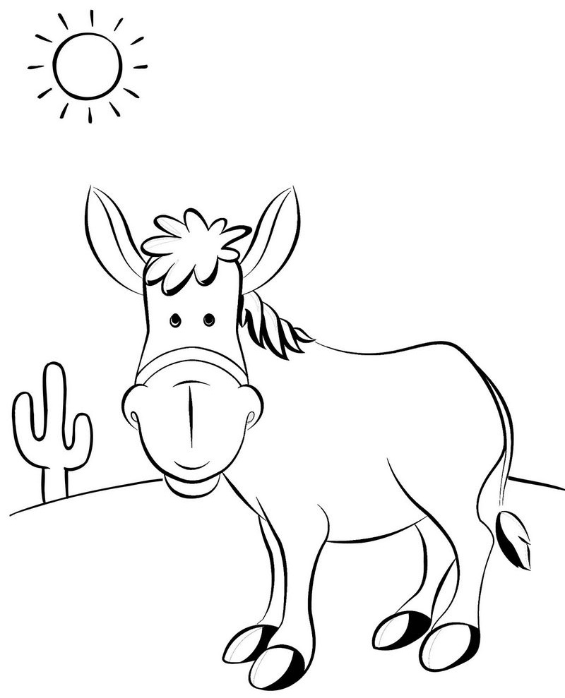 funny donkey in desert coloring page for kids