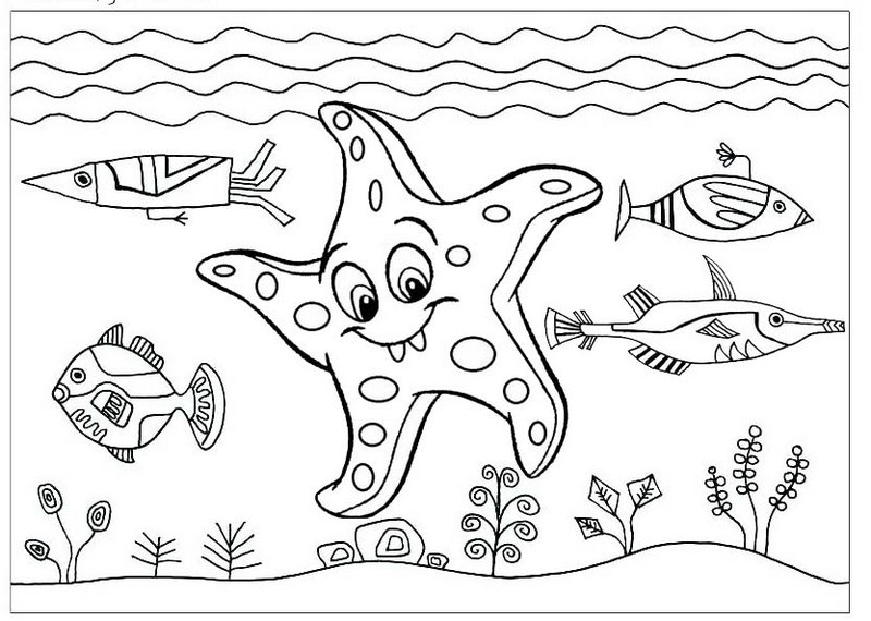 funny starfish cartoon coloring page