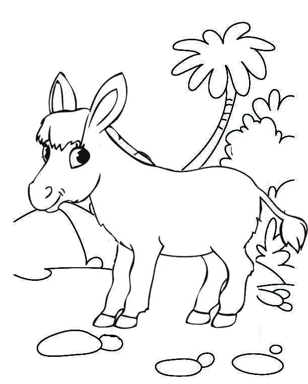 happy donkey coloring page