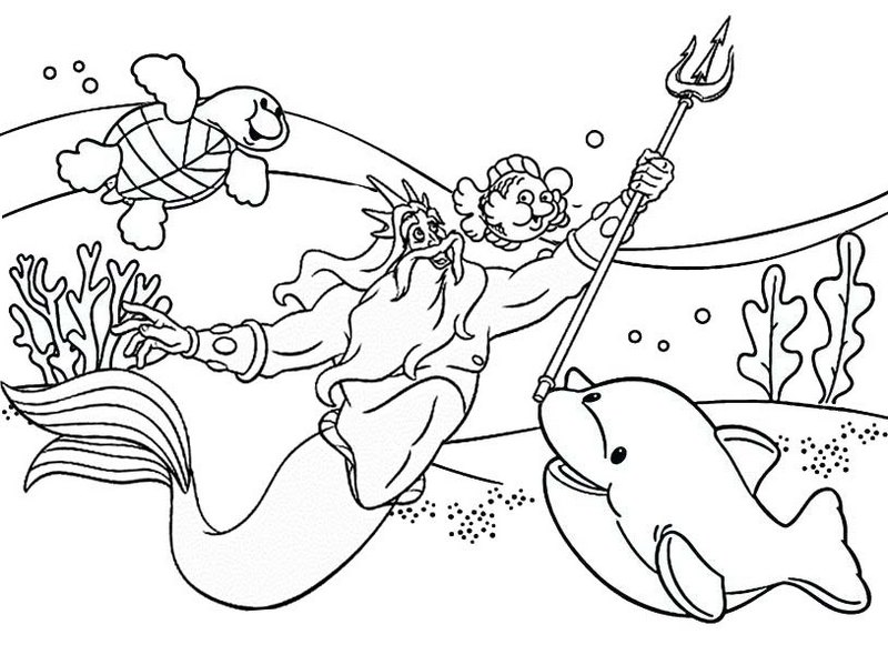 king triton underwater sea life coloring pages