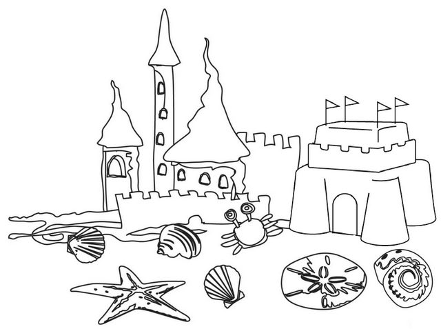 sand castle and ocean animal coloring page