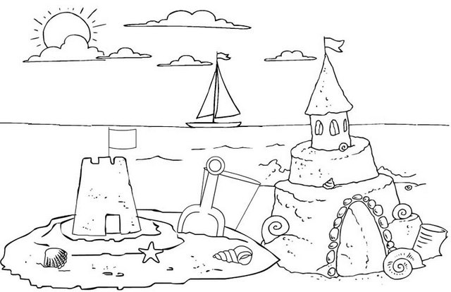 sand castle coloring page of sunset in the beach