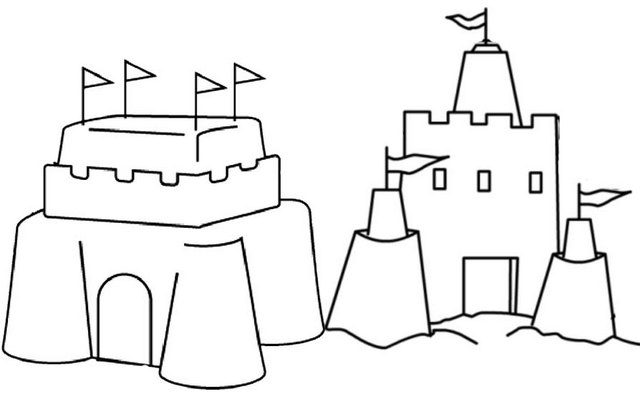 simple and easy sand castle coloring page