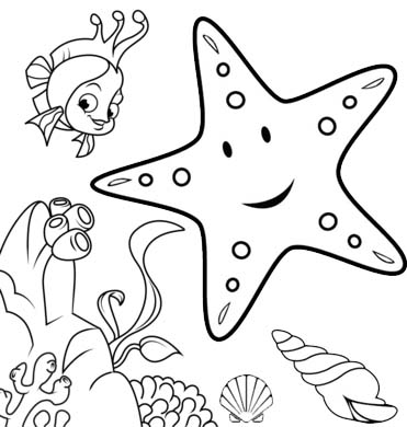 starfish with coral reefs and seashell coloring page