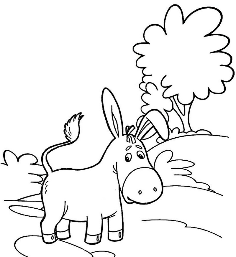 top detailed donkey cartoon coloring page for kids