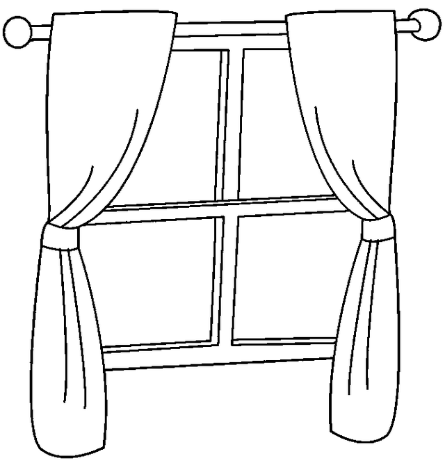 window with beautiful curtains coloring page