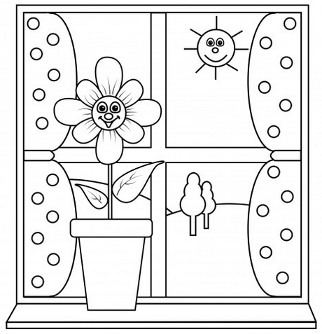 window with flower box coloring page