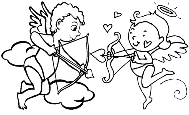 Cupid Holding a Bow Coloring Page