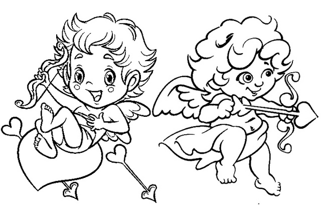 Cute Cupid Baby Coloring Page