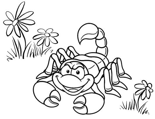 Cute Scorpion Cartoon Coloring Page