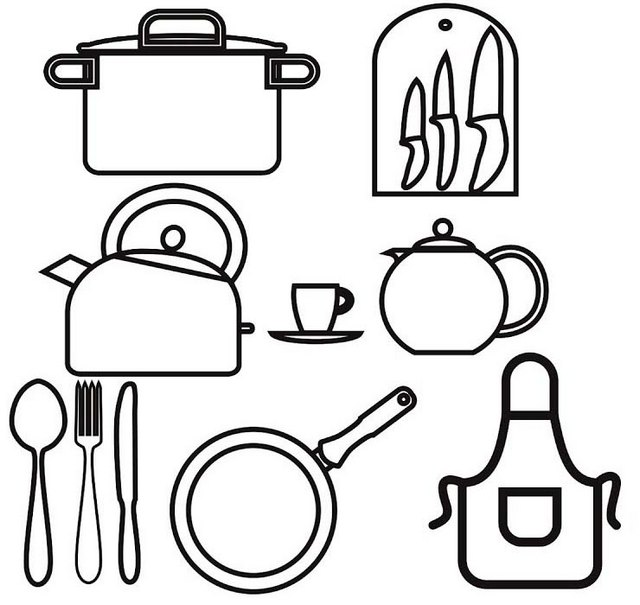 Kitchen Utensils Coloring Page for Girls