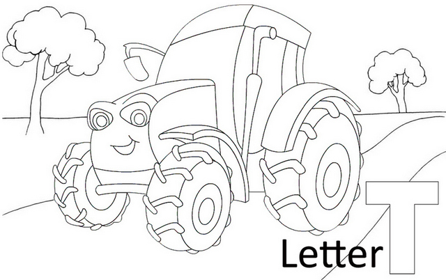 Letter T for Tractor Farm Coloring Page