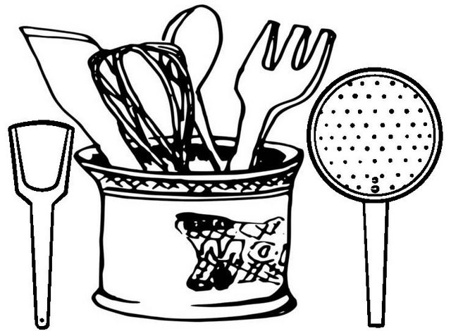 Wow Kitchen Utensils Set Coloring Page