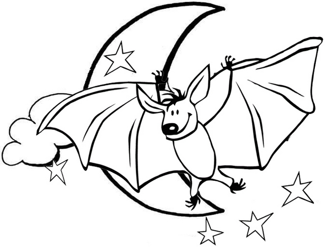 bat with moon scenery coloring page
