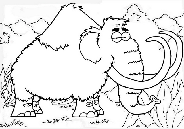 best mammoth cartoon coloring page