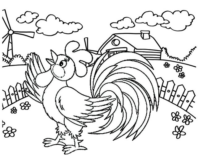 fresh and cute cartoon rooster crowing in the farm fence coloring page