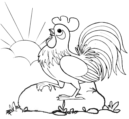 rooster crowing in the morning coloring page