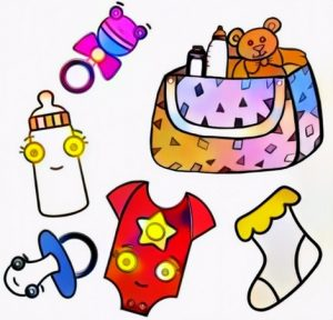 Baby Accessories Coloring Work from Diki