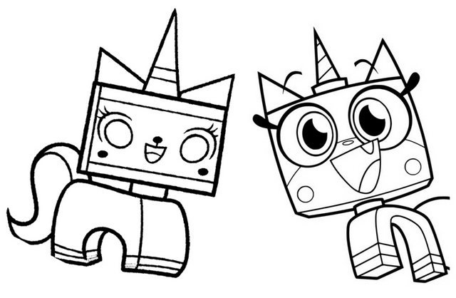Cute Unikitty Lego Coloring Page