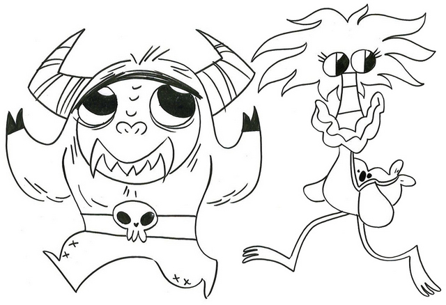 Eduardo and Coco from foster home for imaginary friends coloring page