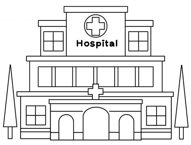 Green Hospital Coloring Page