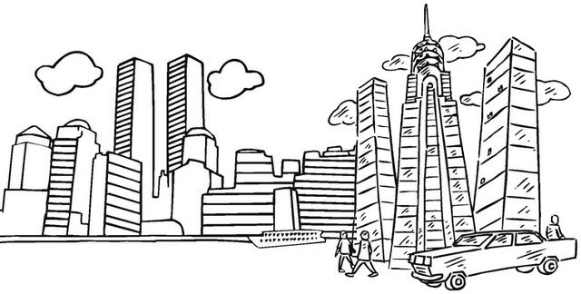 Metropolitan skyscraper coloring page