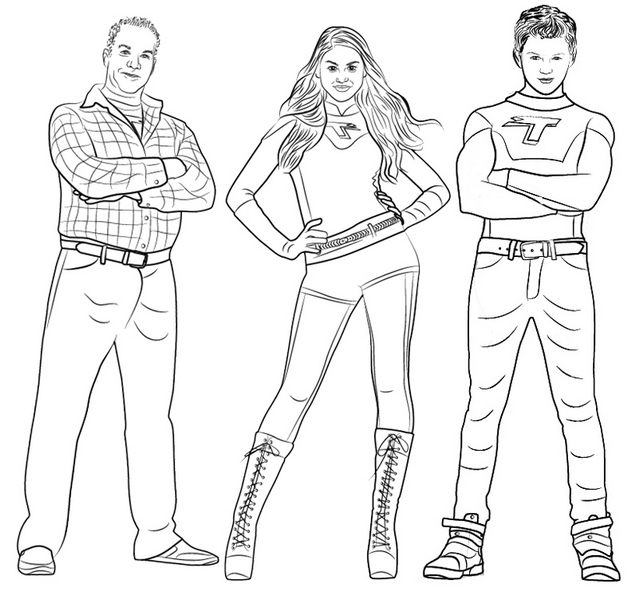 Printable Phoebe Hank and Max from Thundermans Coloring Page