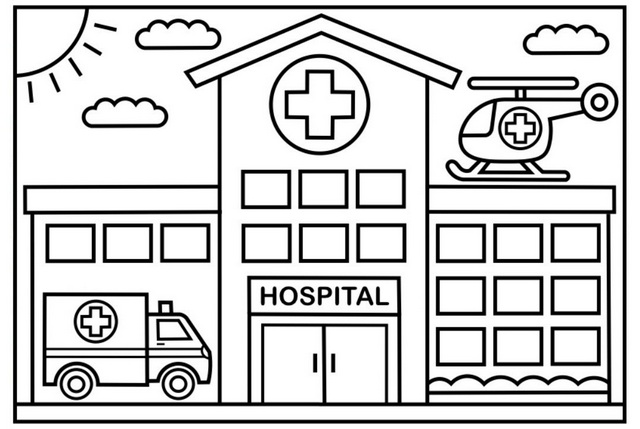 Well designed hospital coloring page