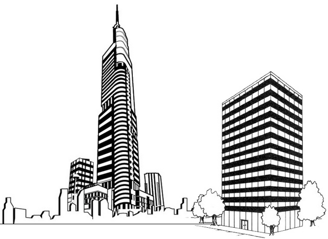 best skyscraper coloring and drawing page